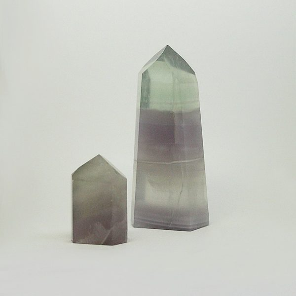 a photo of two argentine pastel fluorite towers