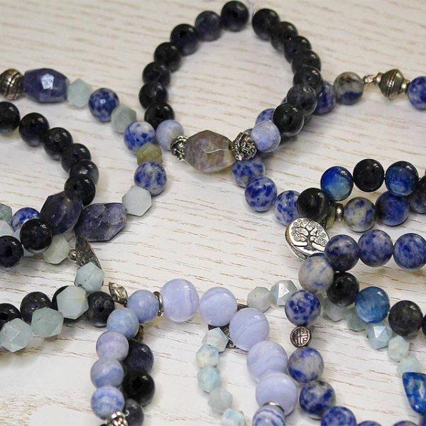 a photo of a blue lace agate bracelets