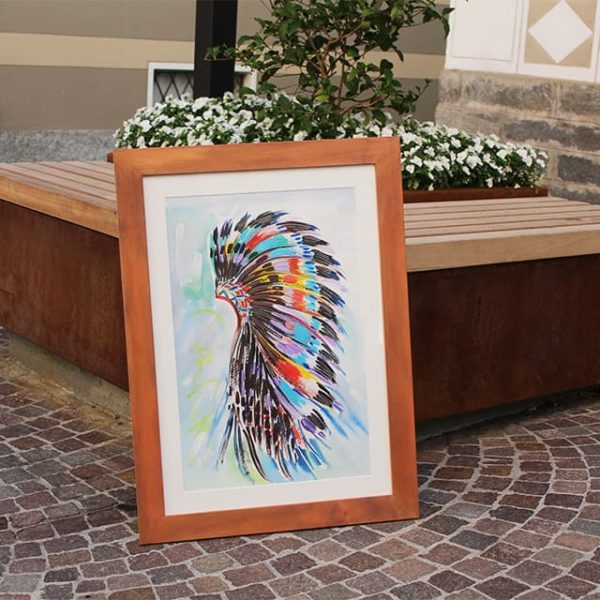 a photo of a water coloured painting by Mali. This one is called cherokee headdress