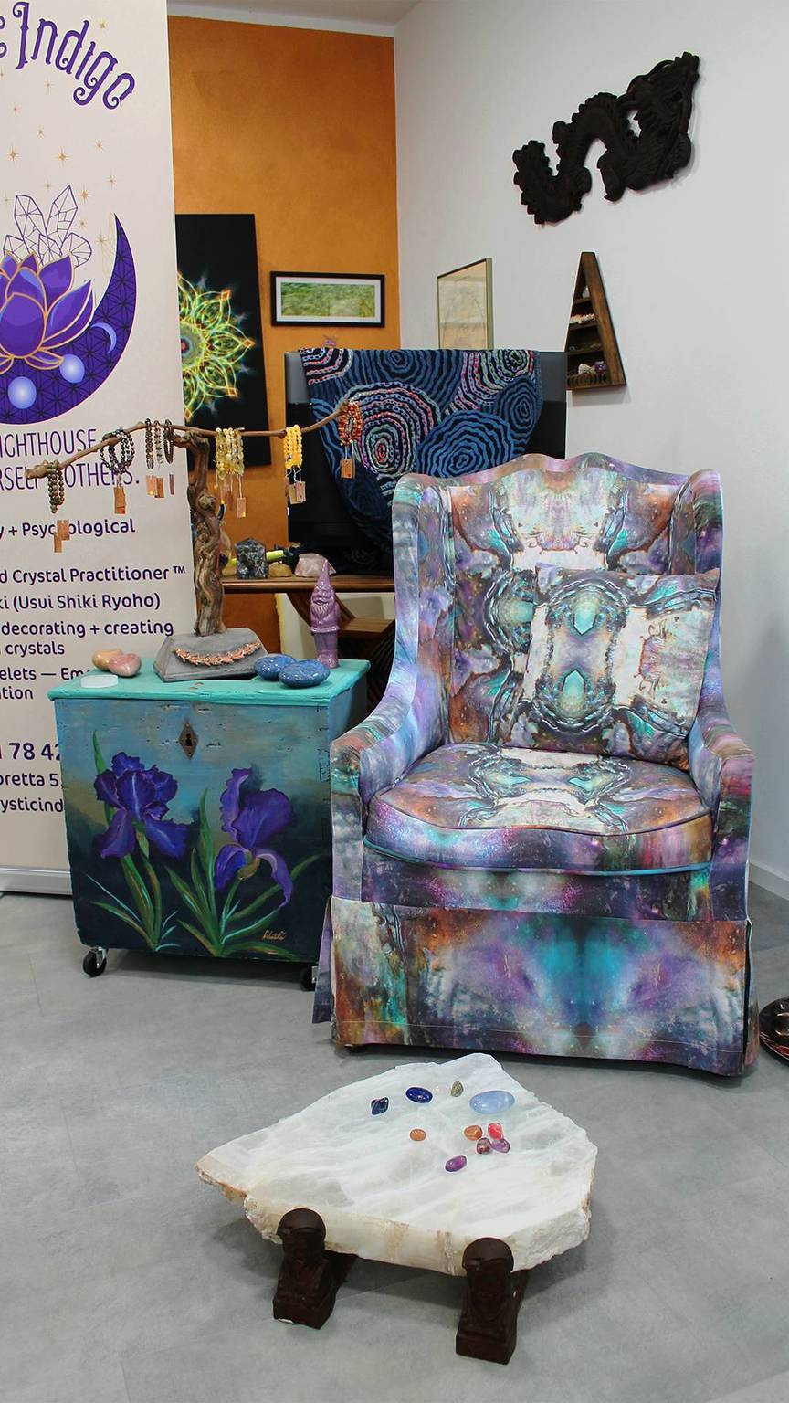 a photo of an experience chair and cabinet upcycled by Mali