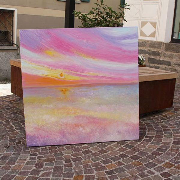 A photo of an oil painting by Mina. This one is called sunset reflected on water
