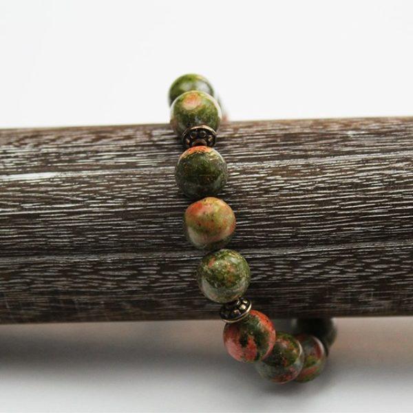 a photo of a unakite bracelet