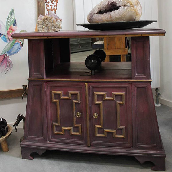 a close up photo of an upcycled chinese motif cabinet upcycled by Mali