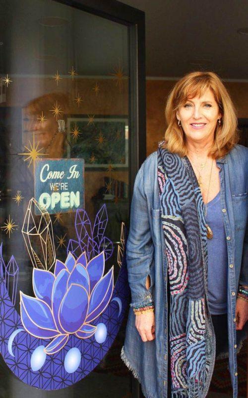 A photo of Catherine Regan in Mystic Indigo shop in Locarno