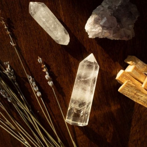 photo of different crystals and some flowers